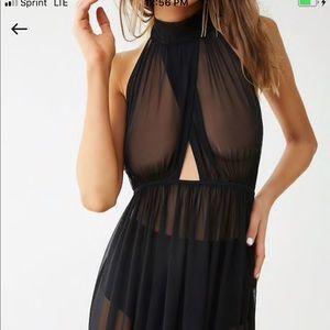 Sheer Halter Top Black Dress Forever 21 Size L